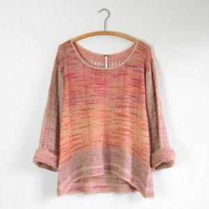 Free People crochet back multicolor mohair sweater